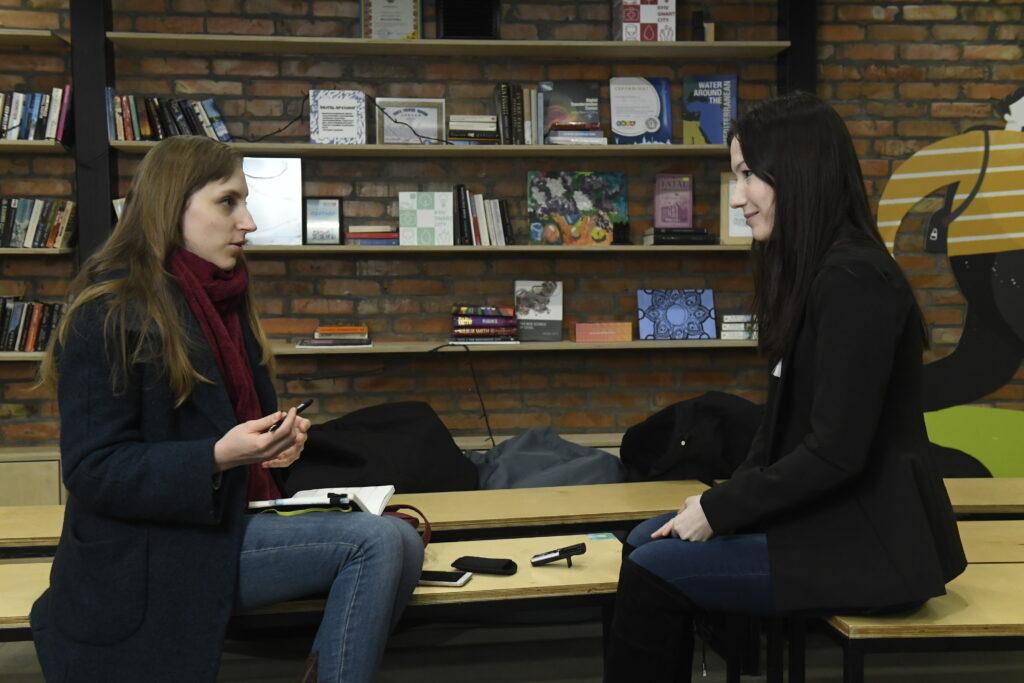 karina l with journalist