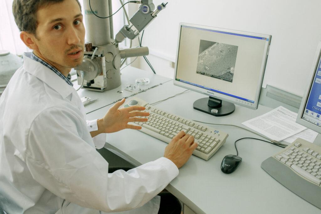 tudor b. at computer