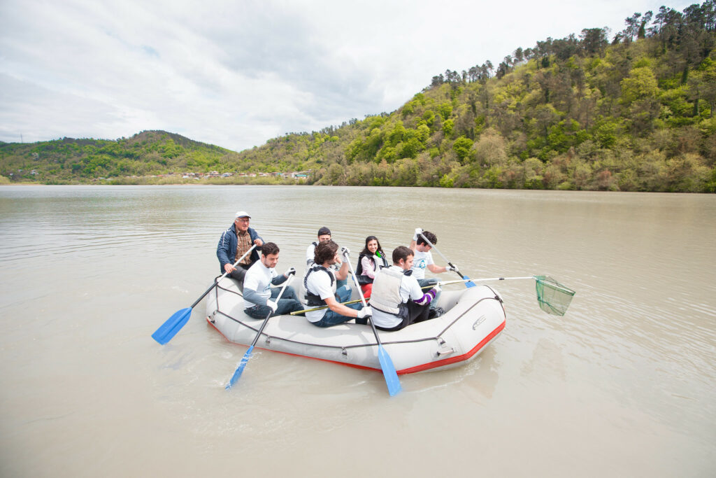 yeas on boat to collect plastic from rioni river 22 april 2019